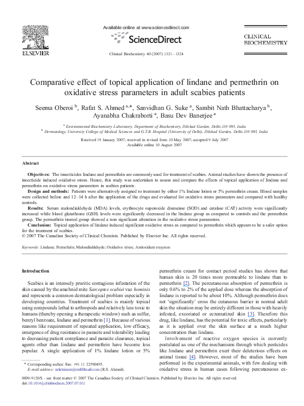 Pdf Comparative Effect Of Topical Application Of Lindane And Permethrin On Oxidative Stress Parameters In Adult Scabies Patients Ayanabha Chakraborti Academia Edu