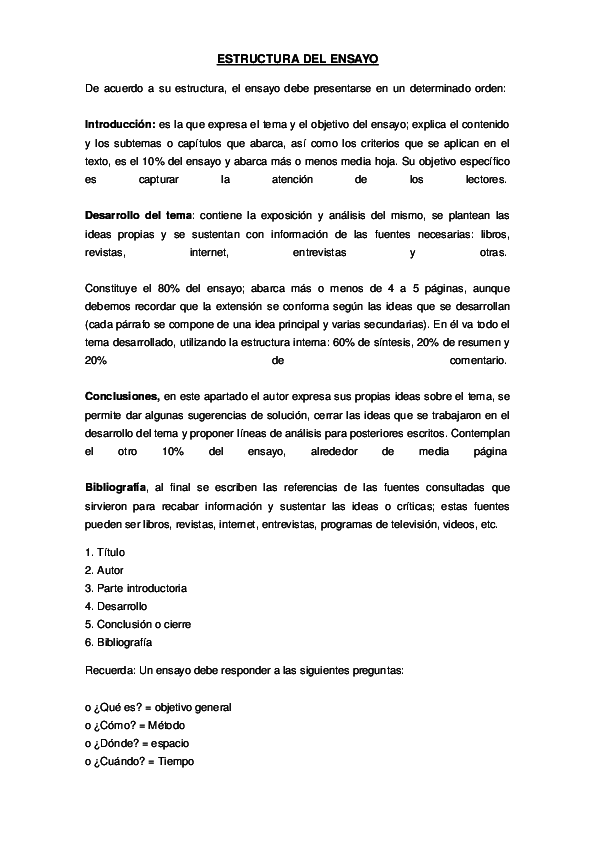 Doc Estructura Del Ensayo Leslie Bennet Academia Edu