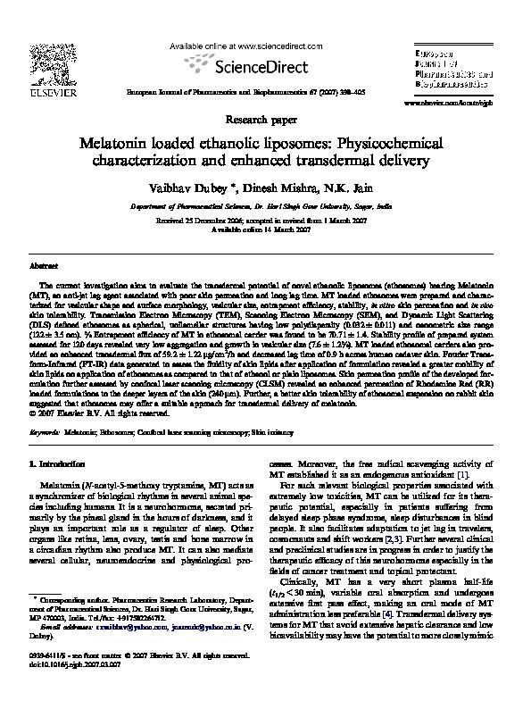 PDF) Melatonin loaded ethanolic liposomes: Physicochemical