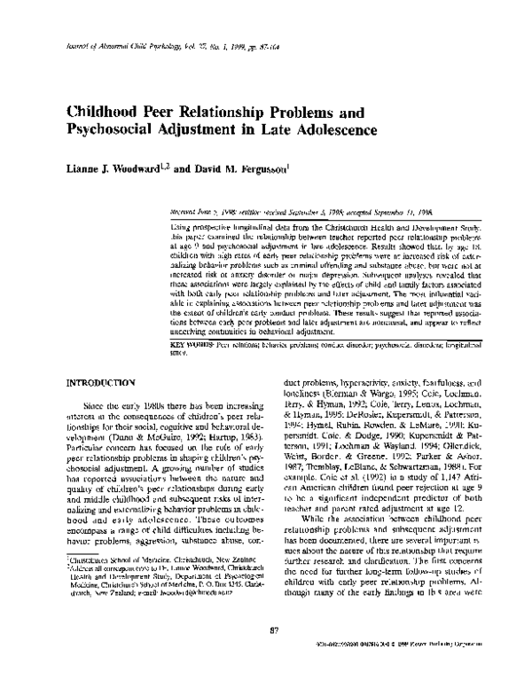 PDF) Childhood peer relationship problems and psychosocial