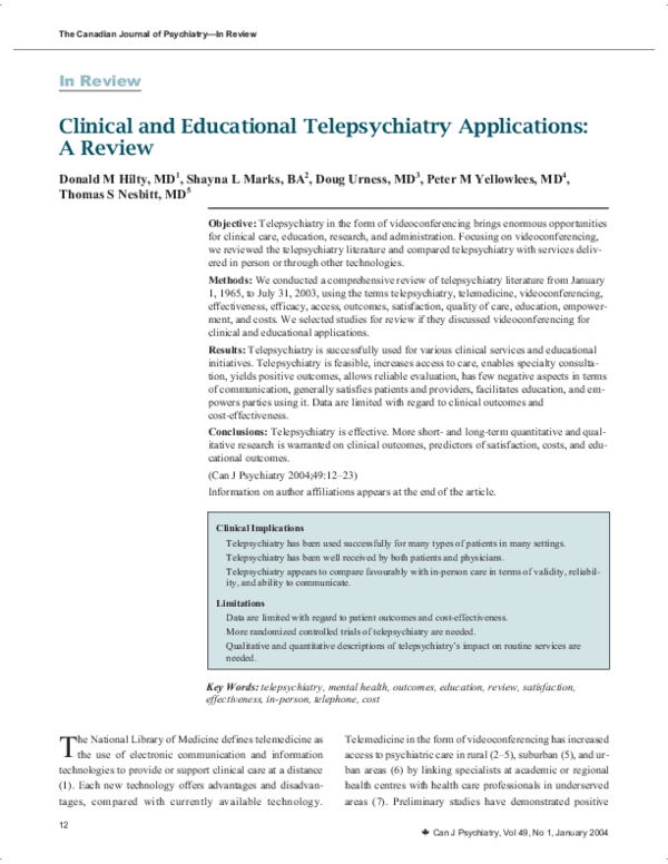 PDF) Clinical and Educational Telepsychiatry Applications: A