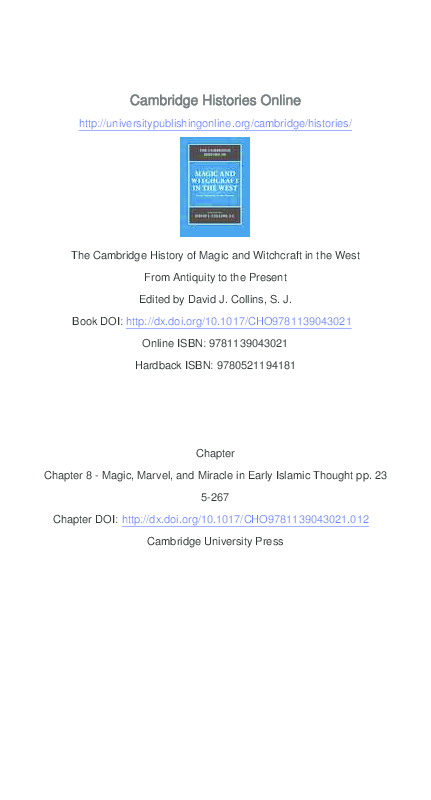 """PDF) """"Magic, Marvel, and Miracle in Early Islamic Thought,"""" in The"""