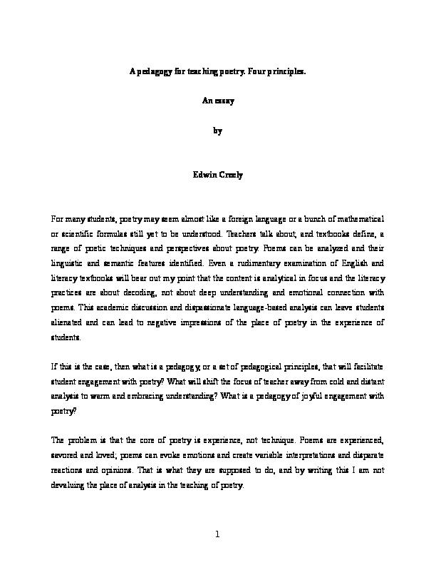 doc a pedagogy for teaching poetry four principles an essay  docx