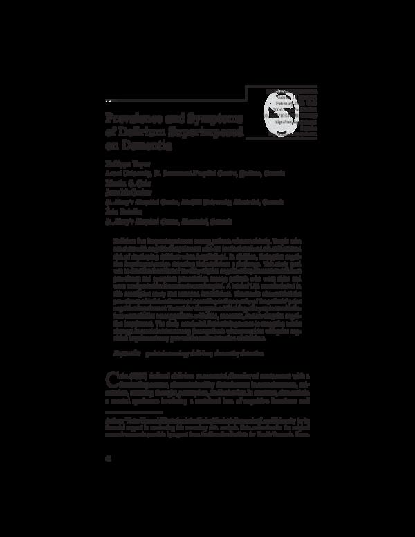 PDF) Prevalence and Symptoms of Delirium Superimposed on