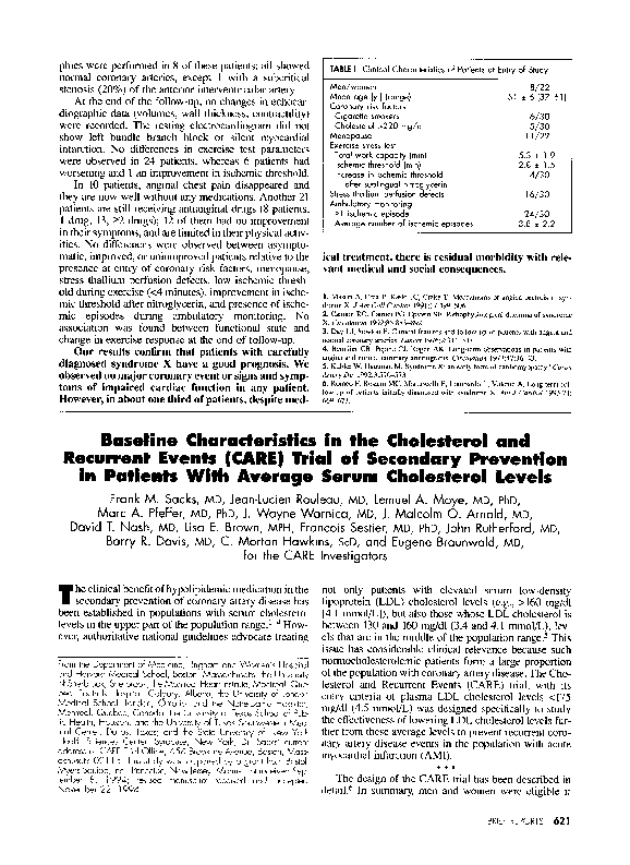 Pdf Baseline Characteristics In The Cholesterol And Recurrent