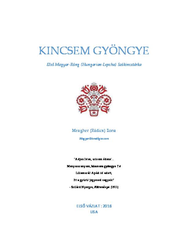 eb48844b7d PDF) DRAFT Kincsem Gyöngye: Első Magyar-Róng (Hungarian-Lepcha ...