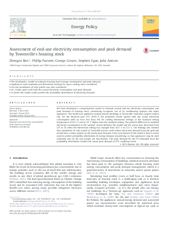 PDF) Assessment of end-use electricity consumption and peak