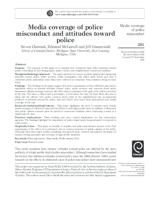 police misconduct research papers