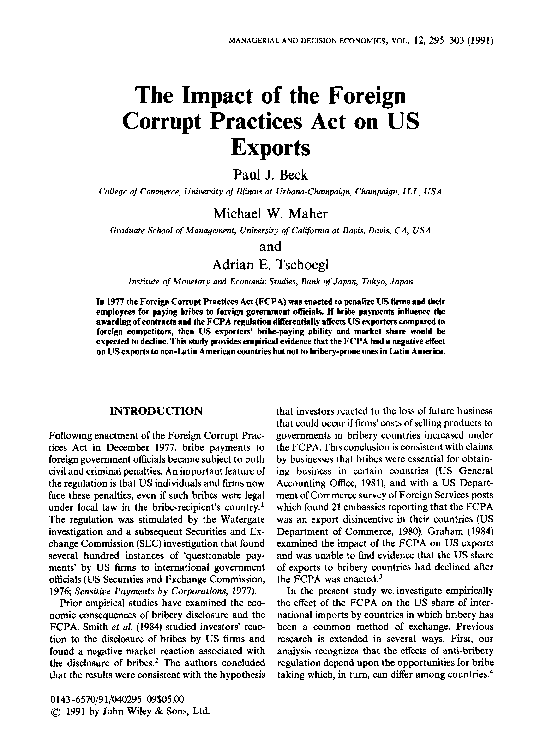 Pdf The Impact Of The Foreign Corrupt Practices Act On Us