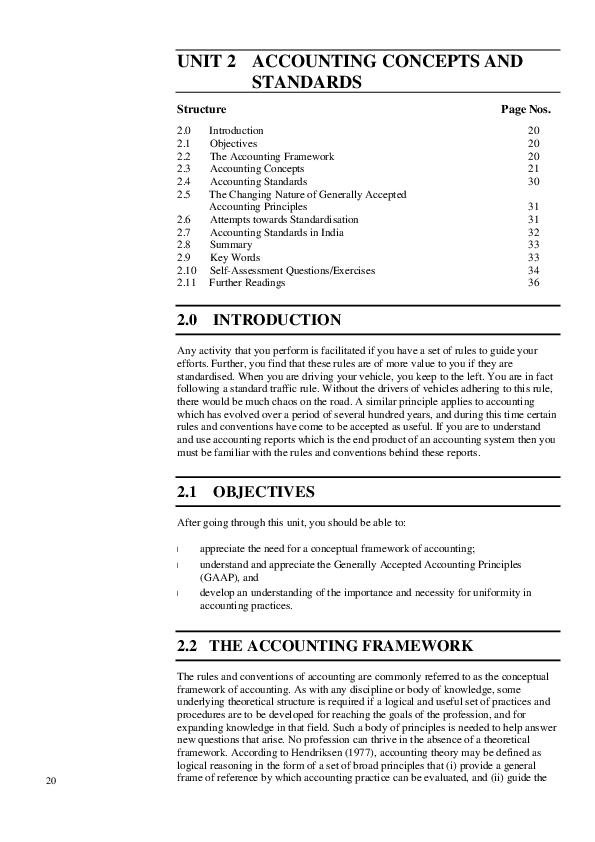 PDF) UNIT 2 ACCOUNTING CONCEPTS AND STANDARDS Structure Page