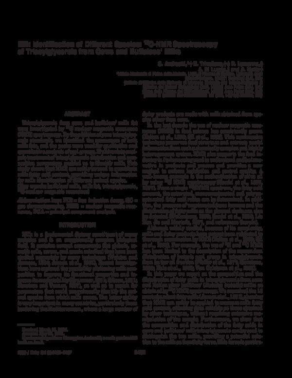PDF) Milk Identification of Different Species: 13C-NMR
