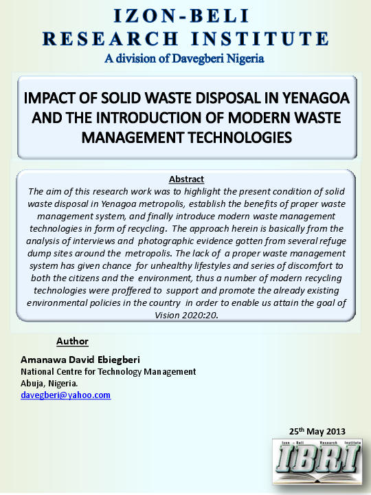 PDF) IMPACT OF SOLID WASTE DISPOSAL IN YENAGOA AND THE INTRODUCTION