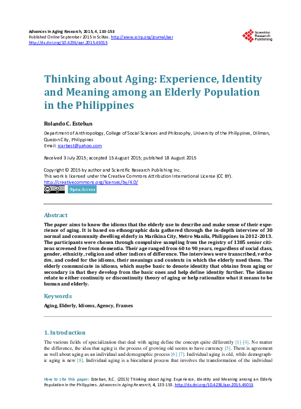 PDF) Thinking about Aging: Experience, Identity and Meaning