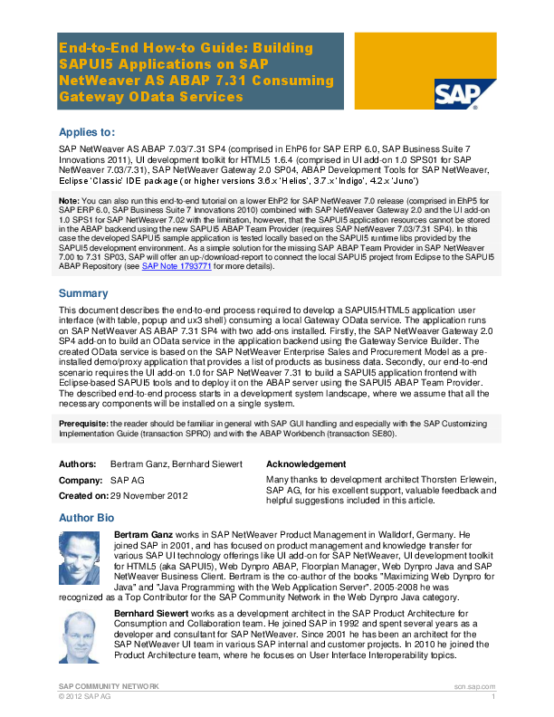 PDF) SAP COMMUNITY NETWORK End-to-End How-to Guide: Building SAPUI5