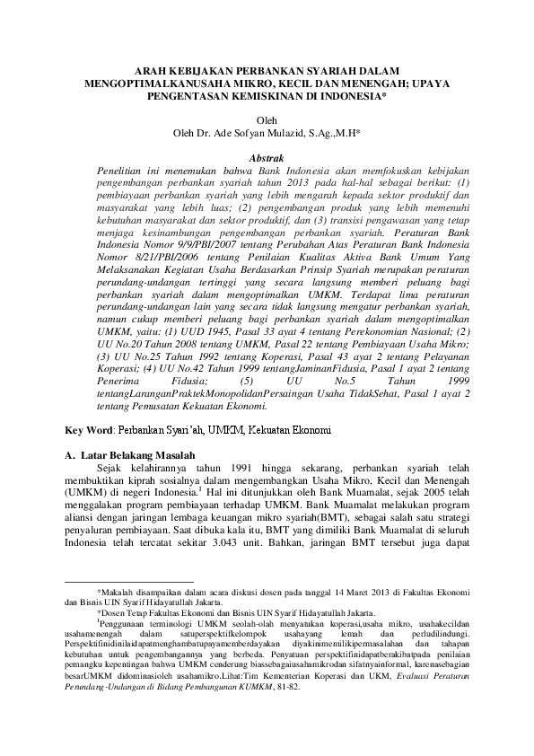 (PDF) Arah Kebijakan Perbankan Syariah dalam ...