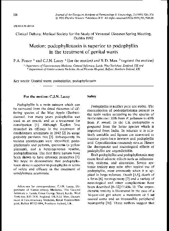 podophyllin és condyloma