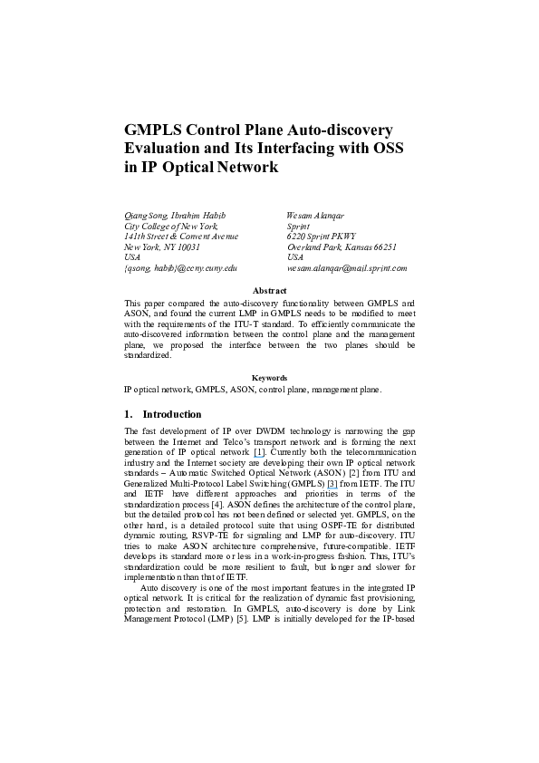 Discovery Of Information About Proposed >> Pdf Gmpls Control Plane Auto Discovery Evaluation And Its
