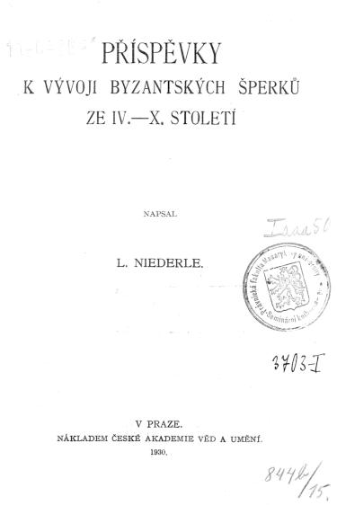 Pdf Lubor Niederle Byzantsky Obchod A Zeme Ceske V 9 A 10