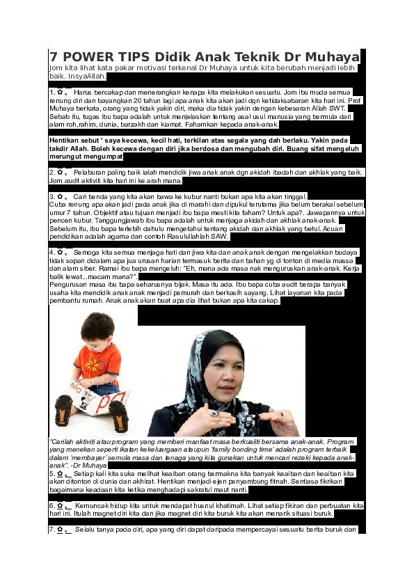 Doc 7 Power Tips Didik Anak Teknik Dr Muhaya Syahir Rosmi