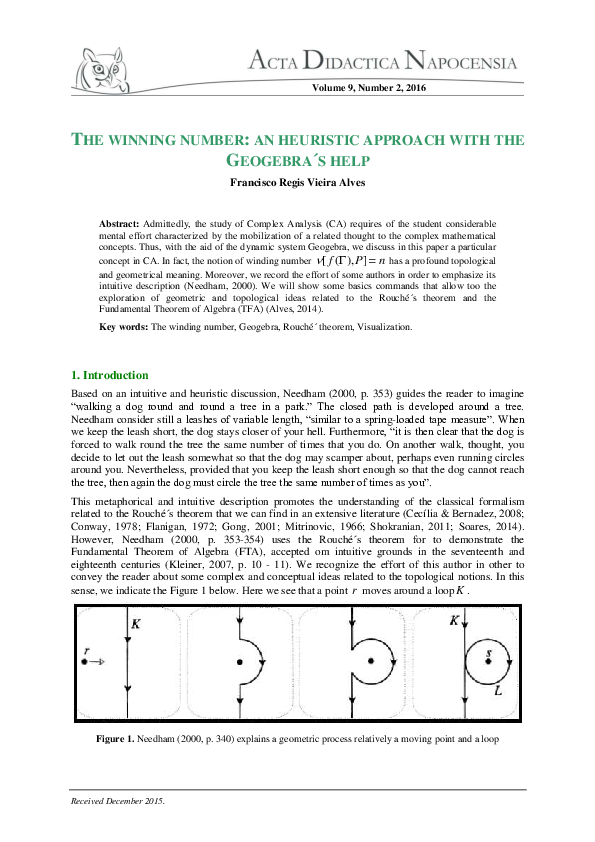 PDF) THE WINNING NUMBER: AN HEURISTIC APPROACH WITH THE GEOGEBRA´S