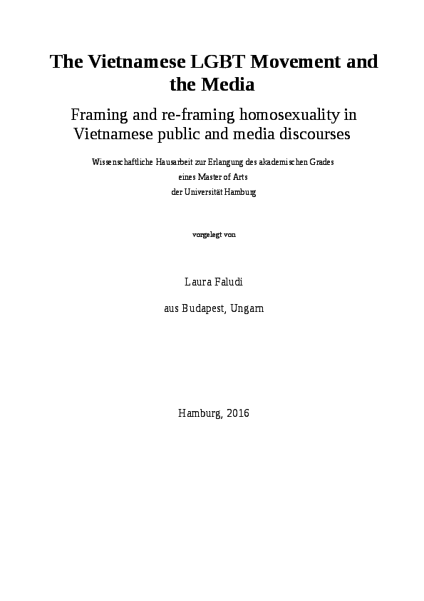 PDF) The Vietnamese LGBT Movement and the Media - Framing