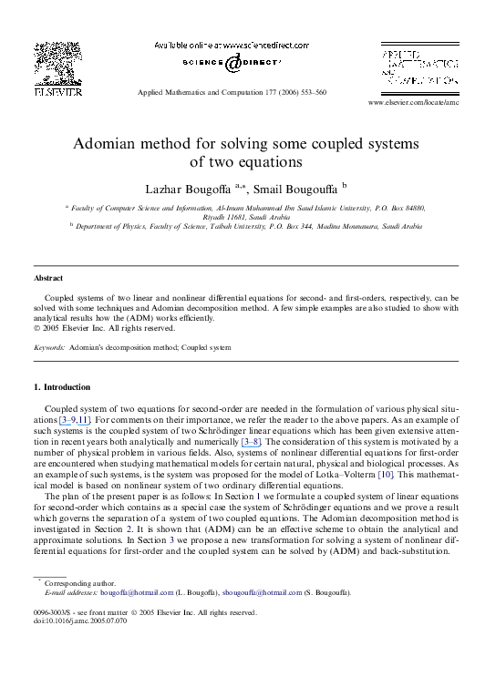 PDF) Adomian method for solving some coupled systems of two