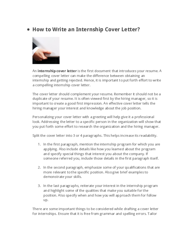 DOC) How to Write an Internship Cover Letter | Josh Ocloo - Academia.edu