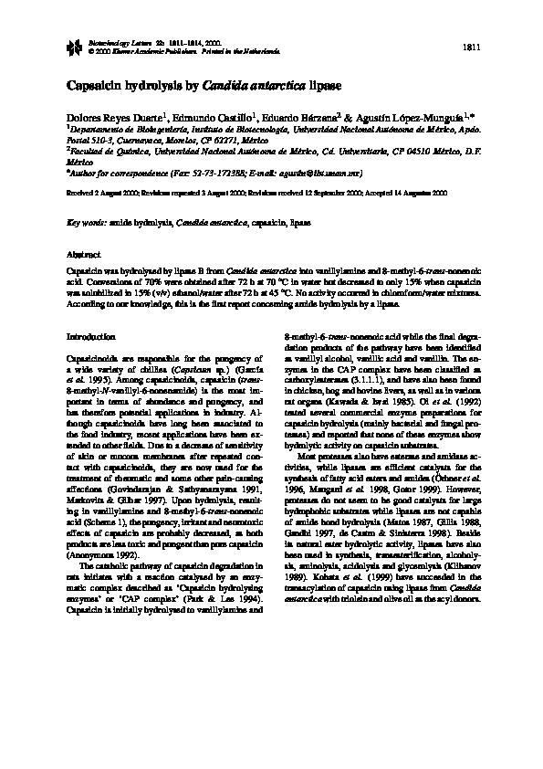 PDF) Capsaicin hydrolysis by Candida antarctica lipase