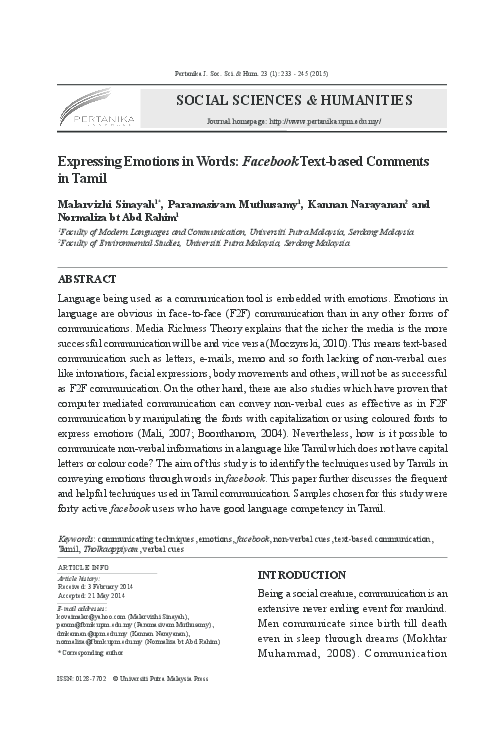 PDF) Expressing Emotions in Words: Facebook Text-based Comments in