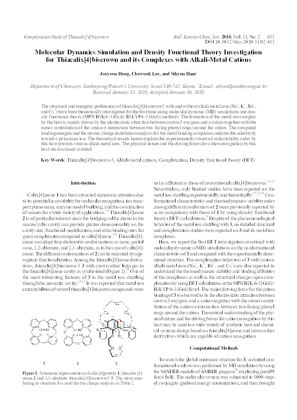 PDF) Molecular Dynamics Simulation and Density Functional Theory