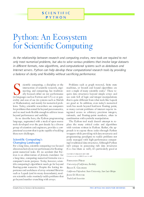 PDF) Python: An Ecosystem for Scientific Computing