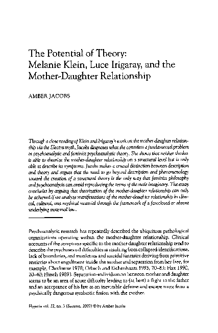 The Potential Of Theory Melanie Klein Luce Irigaray And The  Pdf My First Day Of High School Essay also Essay On Health Care Reform  Examples Of Thesis Statements For Narrative Essays