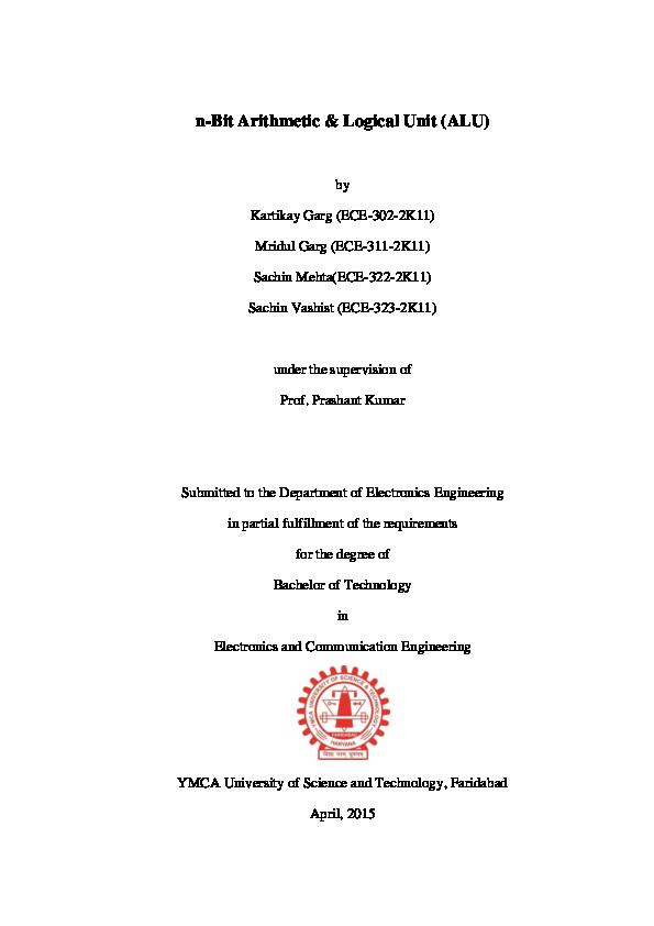 PDF) n-Bit Arithmetic & Logical Unit | Kartikay Garg
