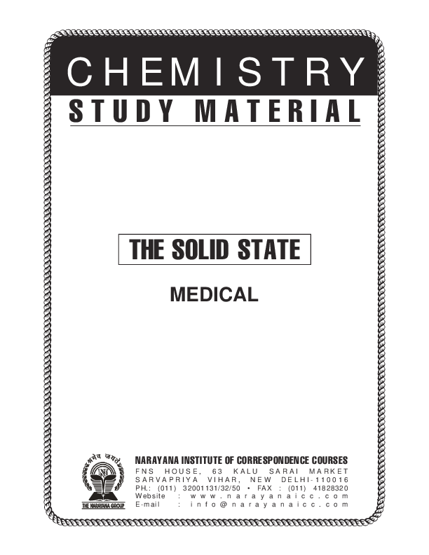 PDF) PMT Class XII Chemistry Solid State | nikhil saxena