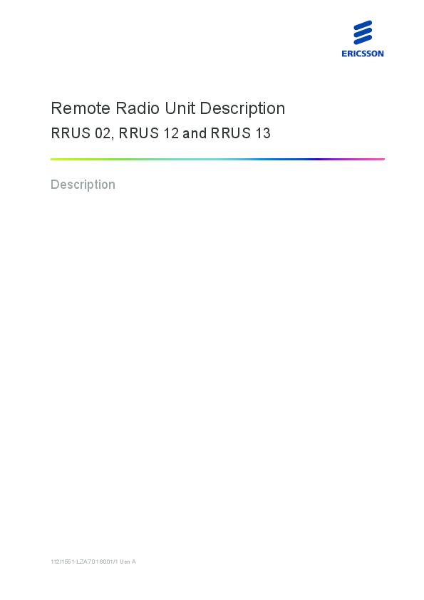 PDF) Remote Radio Unit Description RRUS 02, RRUS 12 and RRUS 13