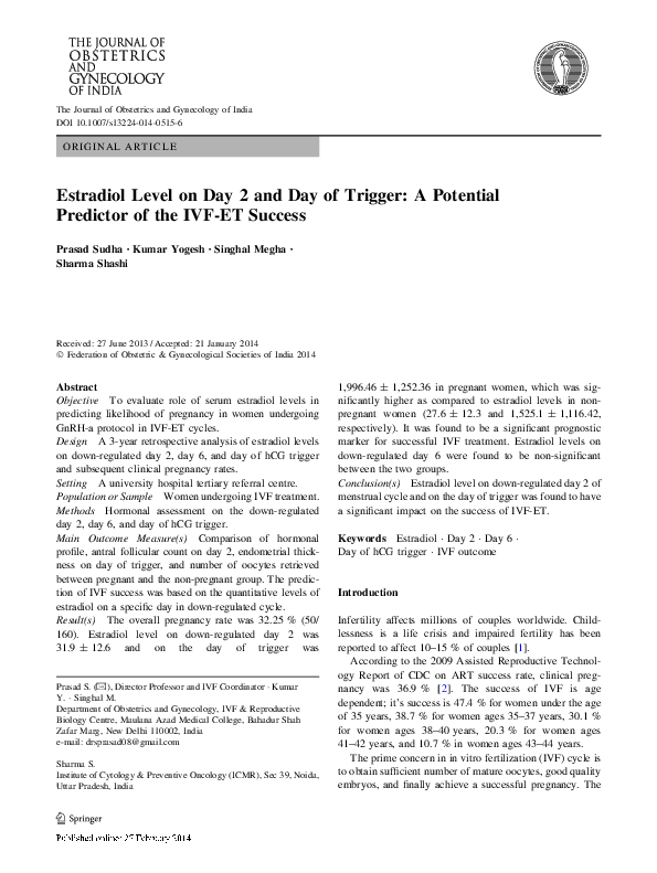 PDF) Estradiol Level on Day 2 and Day of Trigger: A