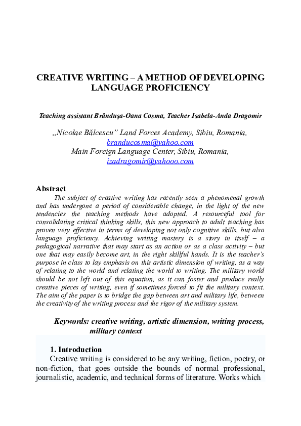 DOC) CREATIVE WRITING – A METHOD OF DEVELOPING LANGUAGE