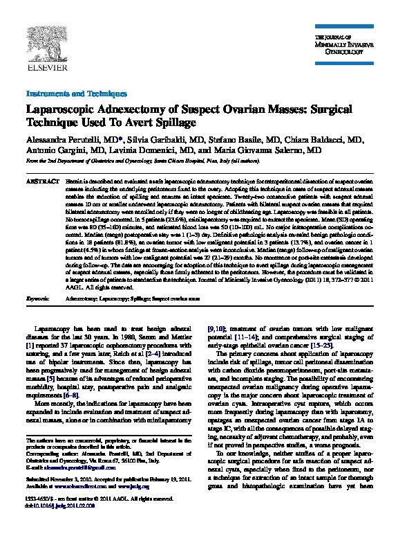 PDF) Laparoscopic Adnexectomy of Suspect Ovarian Masses