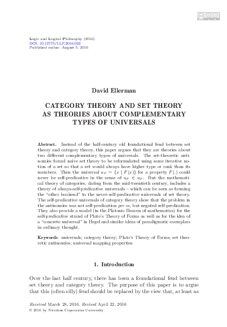 PDF) CATEGORY THEORY AND SET THEORY AS THEORIES ABOUT ... on set diagrams, set type, set concept, set building techniques, set category, set mathematics, set application, set data structure, set design, set formulas, set theories,