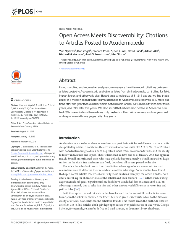 PDF Open Access Meets Discoverability Citations To Articles Posted