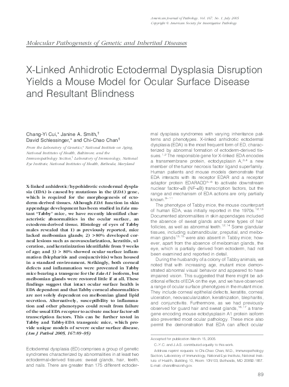 PDF) X-Linked Anhidrotic Ectodermal Dysplasia Disruption