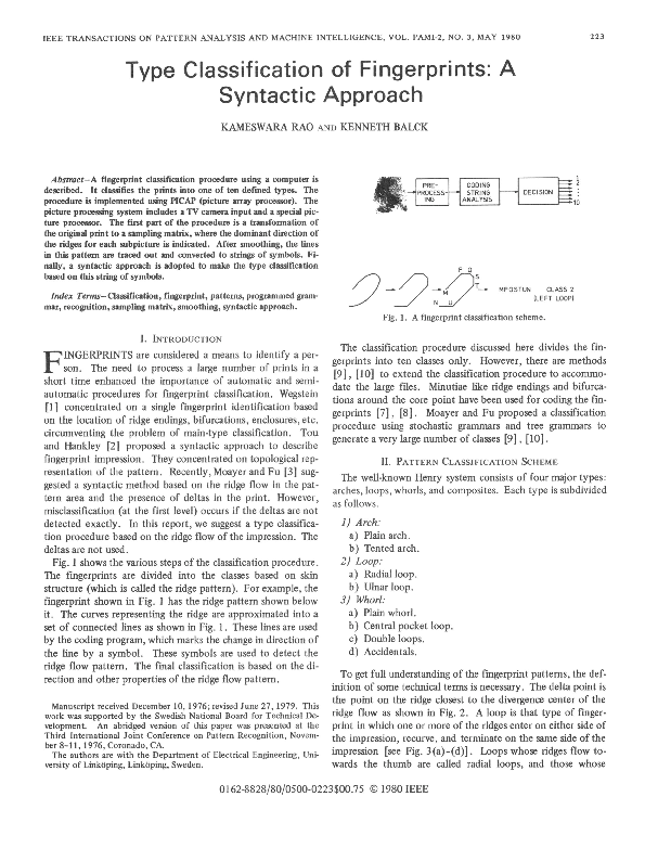 PDF) Type Classification of Fingerprints: A Syntactic