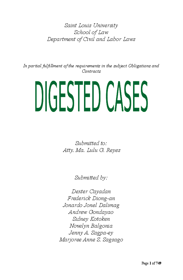DOC) Full Obligations and Contracts Digested Cases (2