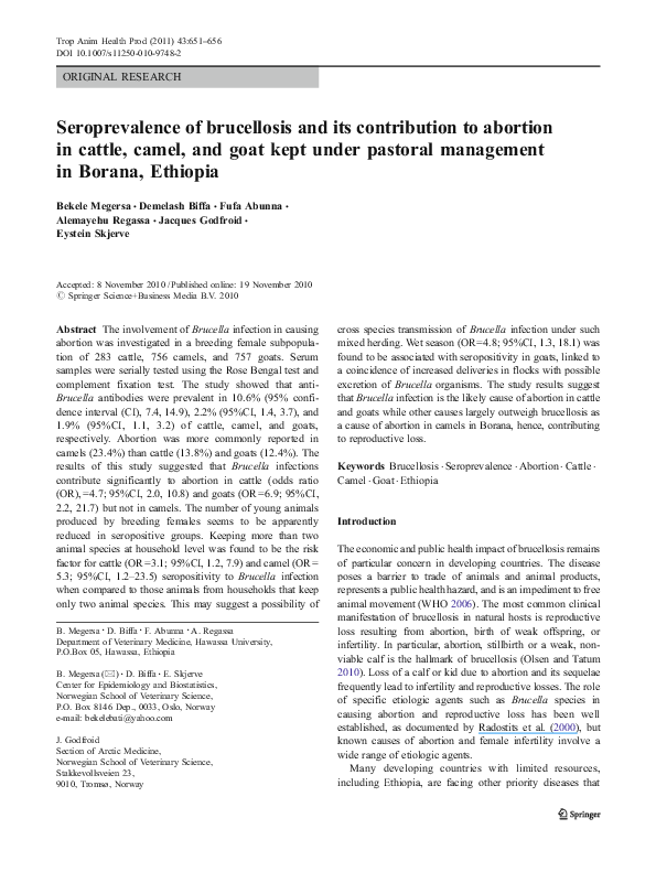 PDF) Seroprevalence of brucellosis and its contribution to