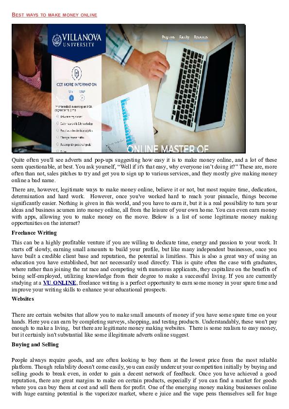 Best ways to make money online   David Rk - Academia edu