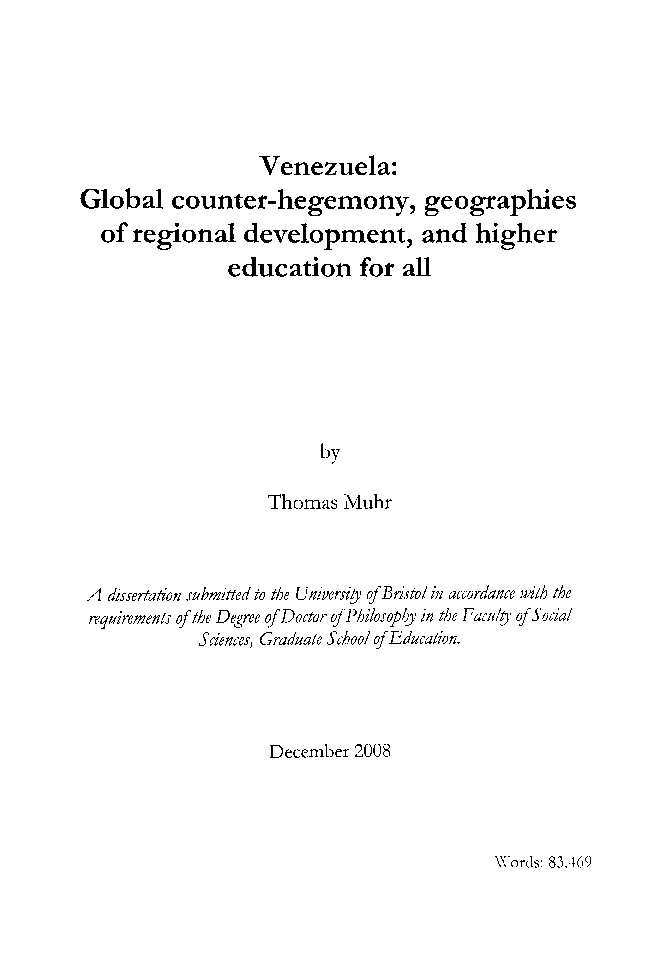 PDF) Venezuela: Global Counter-Hegemony, Geographies of