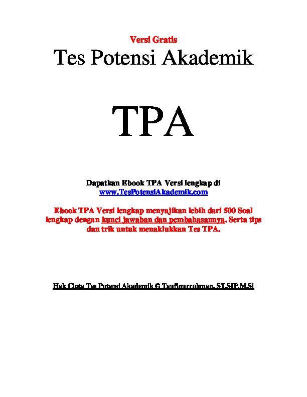 (PDF) Contoh Soal Tes Potensi Akademik | hendri prastio ...