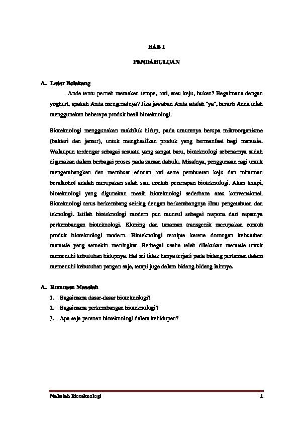 Pdf Makalah Tentang Bioteknologi Pdf Harlan Hariz Academia Edu