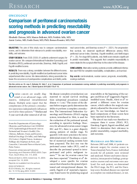 Pdf Comparison Of Peritoneal Carcinomatosis Scoring Methods In Predicting Resectability And Prognosis In Advanced Ovarian Cancer Marcos Ballester Academia Edu