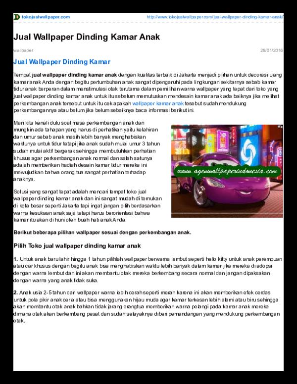 Pdf Jual Wallpaper Dinding Kamar Anak Toko Wallpaper Tangerang